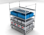Customised tray trolley with four levels
