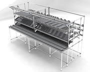 work benches with integrated flow racks